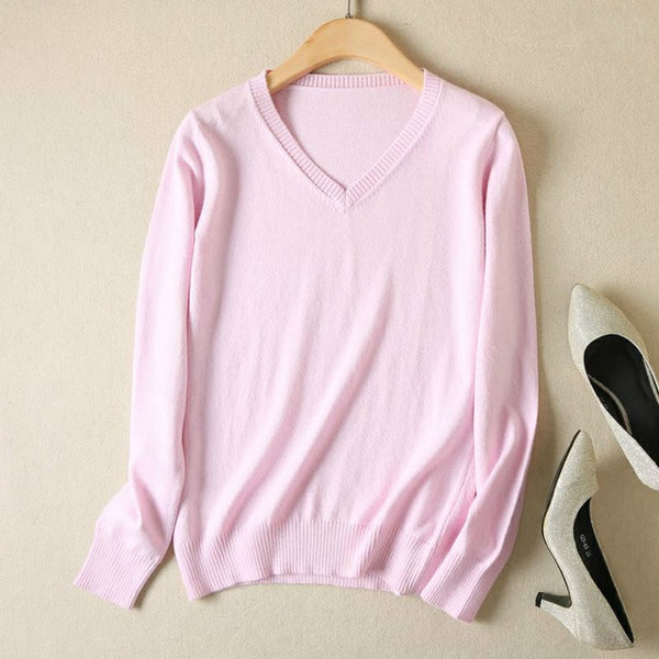 JVEII Women Sweater Knitted Female Long Sleeve V-neck Cashmere Sweater And Pullover Female Autumn Winter Slim Jumpers Casual