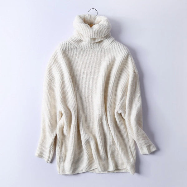REJINAPYO Women Oversize Basic Knitted Turtleneck Sweater Female Solid Turtleneck Collar Pullovers Warm 2019 New Arrival