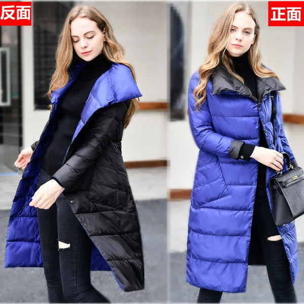 2019 Women Winter Coat Stand Collar White Duck Down Inner Women Light Long Jacket Coat Women Coat Casaco Feminino Parkas