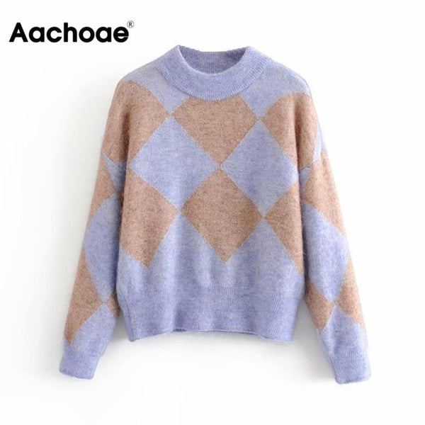 Casual Women O Neck Knitted Argyle Sweater Winter Cotton Warm Long Sleeve Pullover Elegant Female Outwear Ladies Loose Jumper