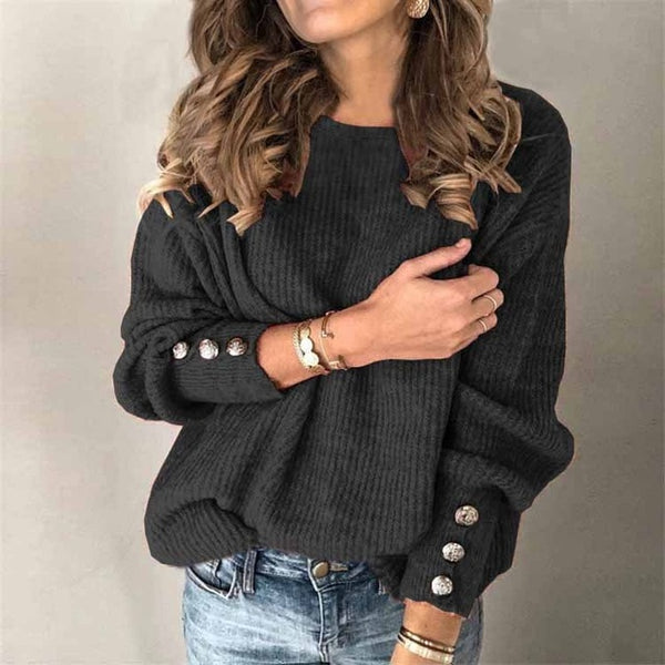 2020 Winter Pullover Sweater Women Knitted Tops Button Boho Plus Size Casual Long Sleeve Pull Female Solid Sweaters Pullovers
