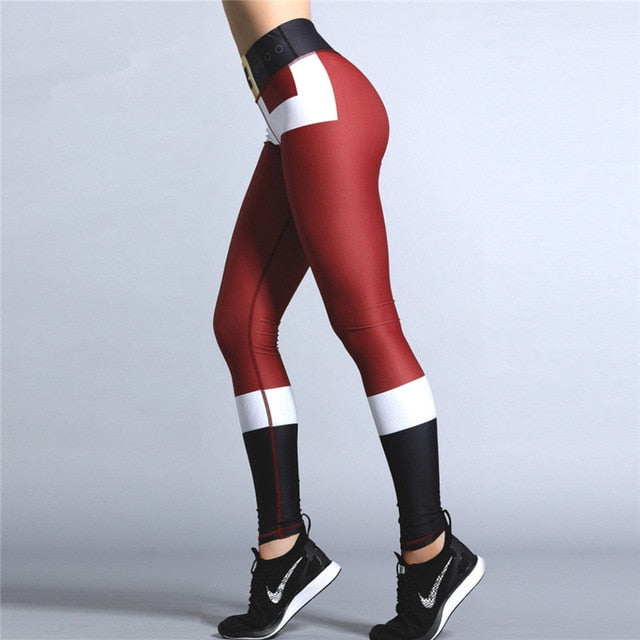 2019 Hayoha Christmas Printing Leggings Put Hip Elastic High Waist Legging Breathable Merry Christmas Pants
