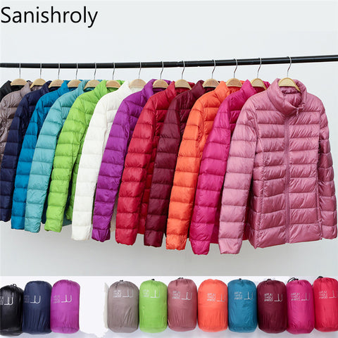 Sanishroly 2018 New Autumn Winter Women Thin White Duck Down Jacket Parka Female Ultra Light Down Coat Short Tops Plus Size S268