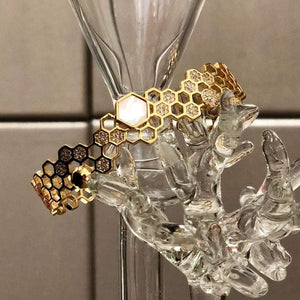 Gold Plated Mother of Pearl Honey Comb Bracelet