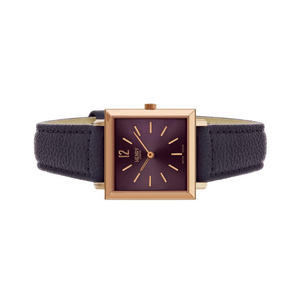 Henry London Watch 26mm / Maroon/Rose Gold Heritage Square
