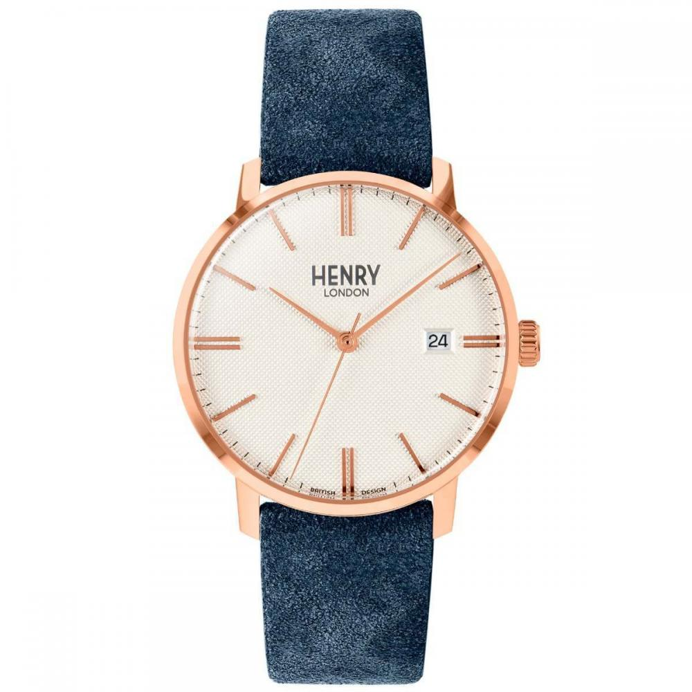 Henry London Watch 40mm / Rose Gold/Blue Regency Suede (Blue)