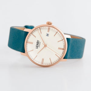 Henry London Watch 40mm / Rose Gold/Teal Regency Suede (Teal)