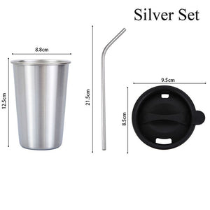 Stainless Steel Tumbler Set With Straw & Lid
