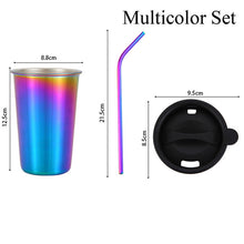 Load image into Gallery viewer, Stainless Steel Tumbler Set With Straw & Lid