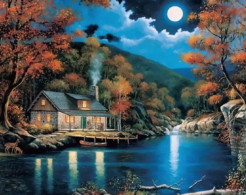 A House On The Lake With Moon Kit