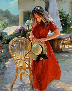 A Lady In Red Dress With Hat Kit
