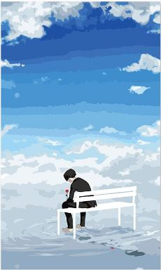 Alone Boy Under Blue Sky - Paint by Numbers