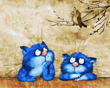 Load image into Gallery viewer, Animated Blue Cats Paint By Number