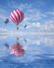 Load image into Gallery viewer, Balloons above ocean painting