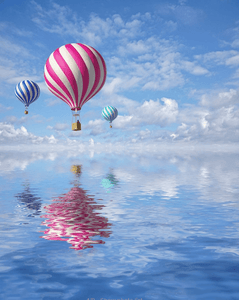 Balloons above ocean painting