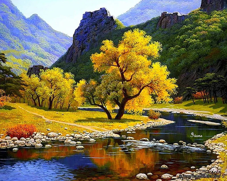 Beautiful Trees And Mountains Painting Kit