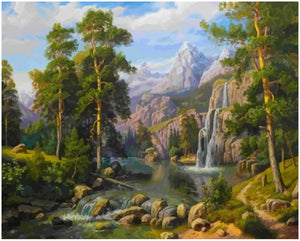 Waterfall Scene Painting by numbers