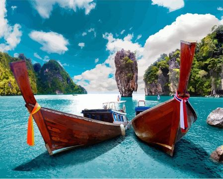 Docked Boats on Islands - Paint by Numbers Kit