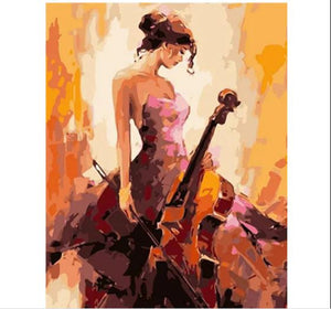 Beautiful Girl With Violin - Paint by Numbers