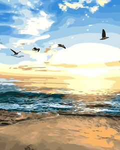 Birds Sunset scene Paint by numbers kit