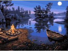 Load image into Gallery viewer, Bonfire at Lakeside - Paint by Numbers Kit
