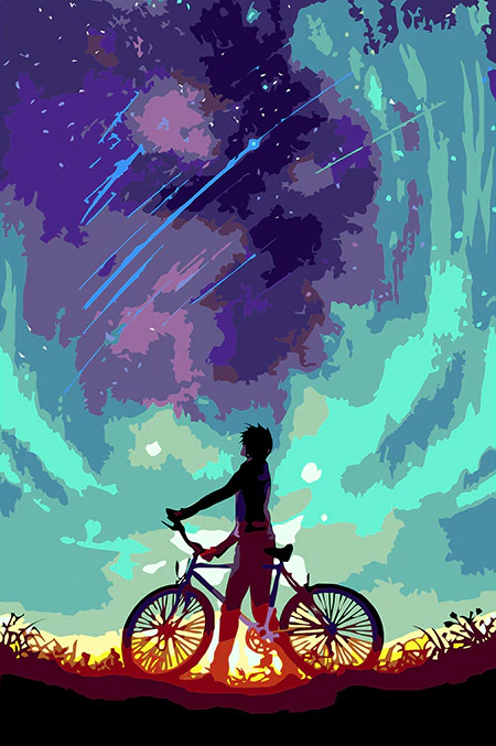 Boy With Colorful Sky