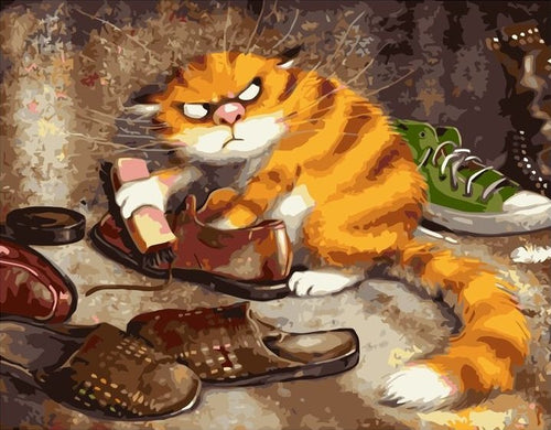 cat is polishing the shoes paint by number