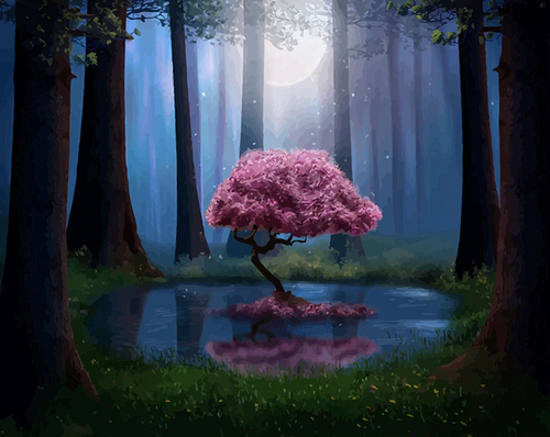 Cherry Blossom Tree In Forest Kit