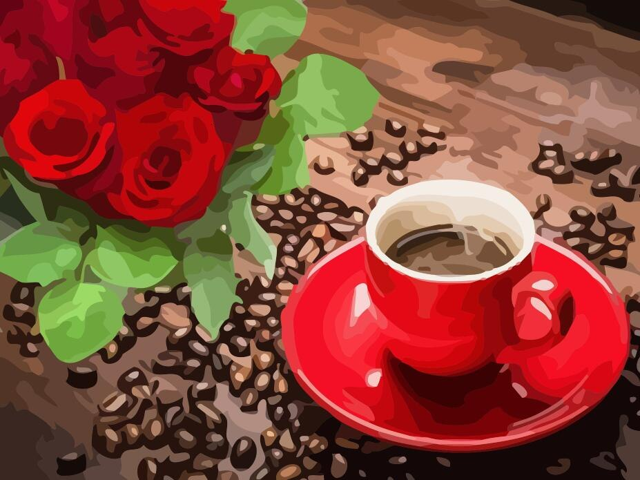 Coffee Cup With Red Rose