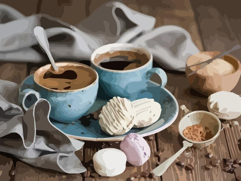 Coffee Cups And Spoons Painting Kit