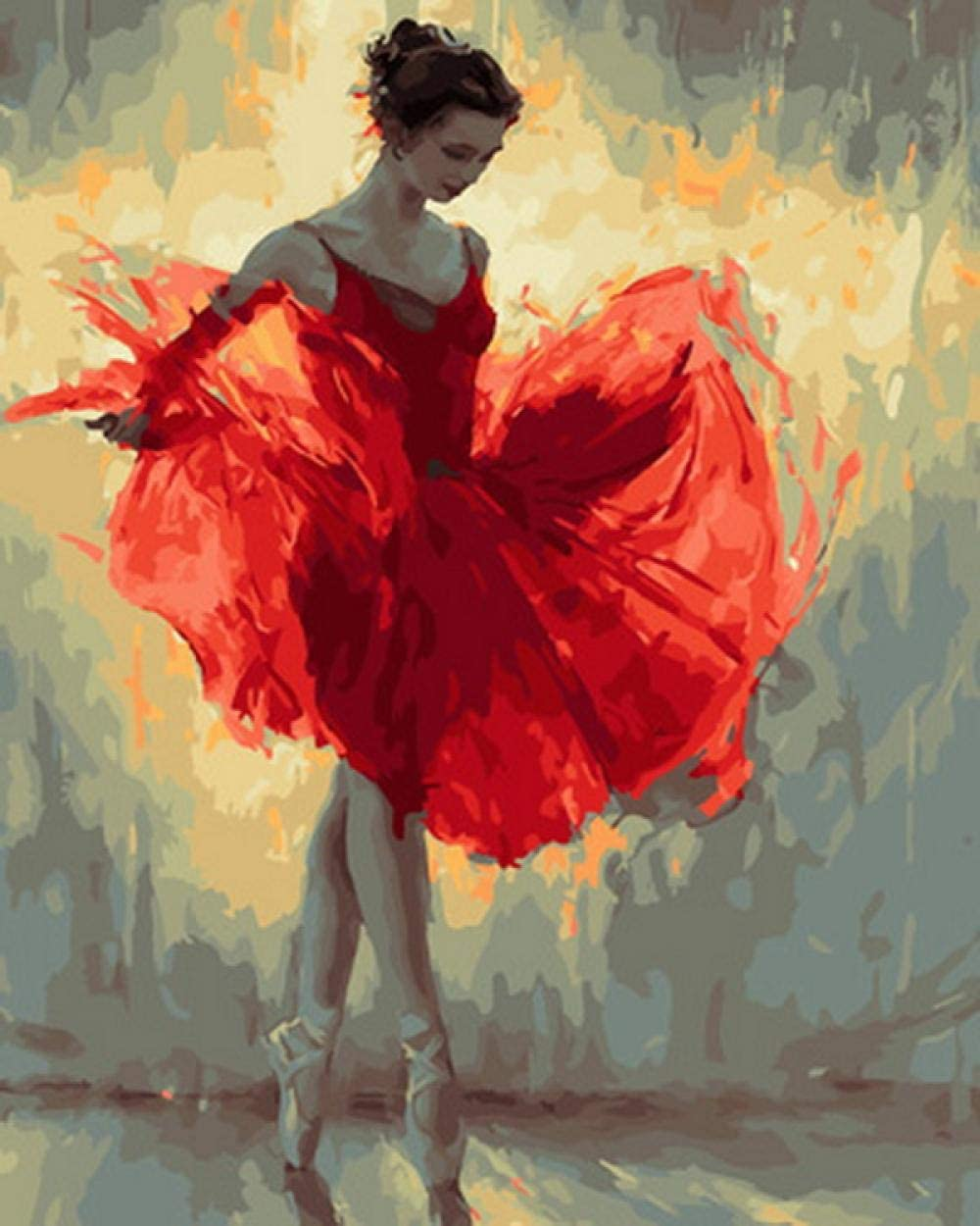 Dancing Girl in Red Dress Painting by number