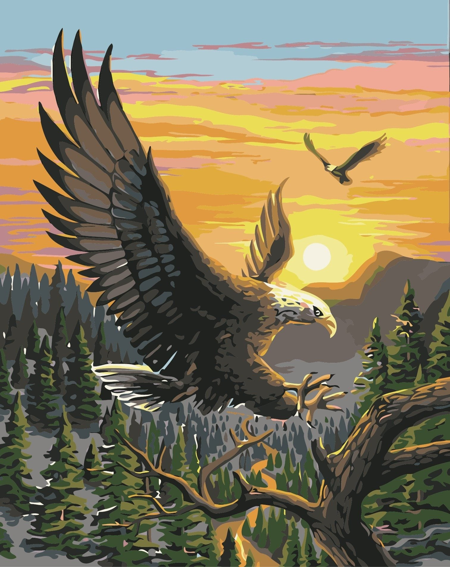 Eagle Sunset Painting
