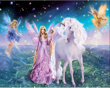 Load image into Gallery viewer, Fairies in Paradise with Unicorn - Paint by Numbers Kit
