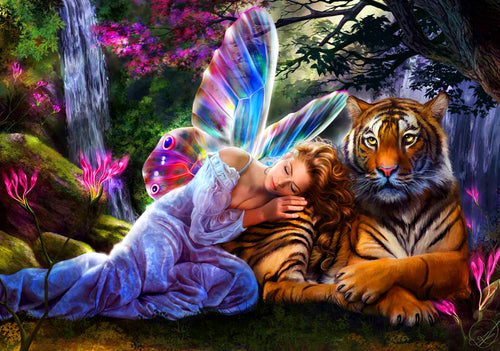 Fairy with Tiger Painting by number Kit