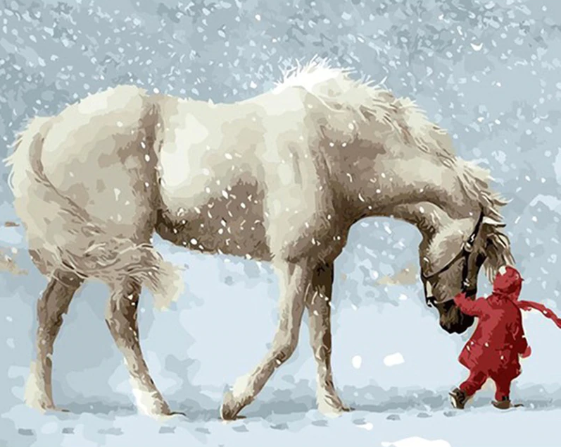 Girl With Horse In Snow Kit