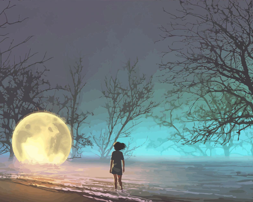 Girl With Moon At Sea Paint By Number Kit