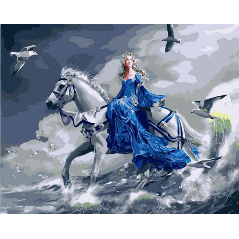 Girl With Horse And Birds painting