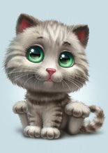 Load image into Gallery viewer, Green Eyed Cute Animated Cat Painting