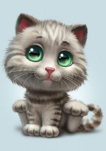 Green Eyed Cute Animated Cat Painting