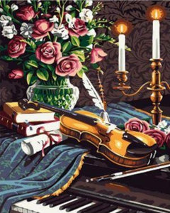 Music Instrument and flowers - Paint by Numbers