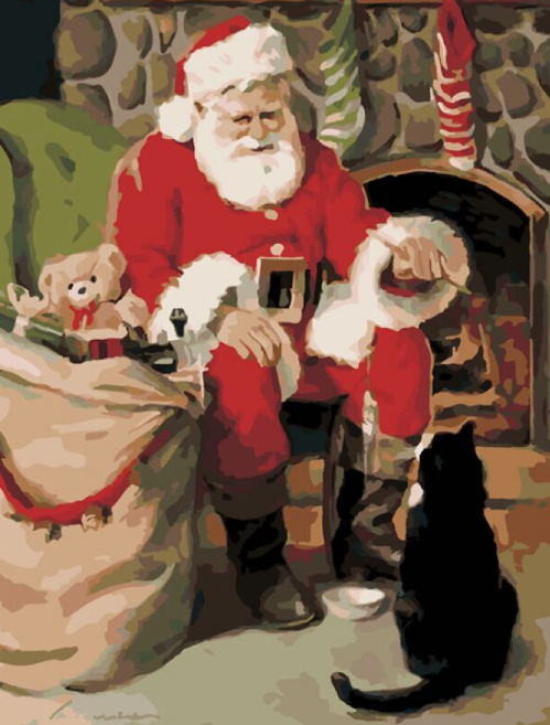 Santa Claus And Cat painting