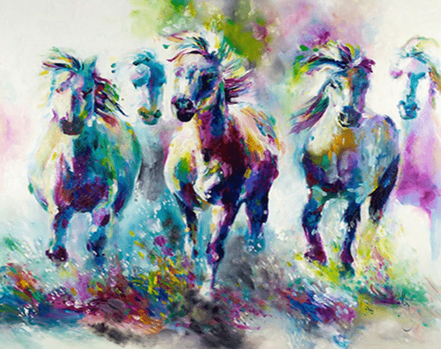 Colourful running horses painting