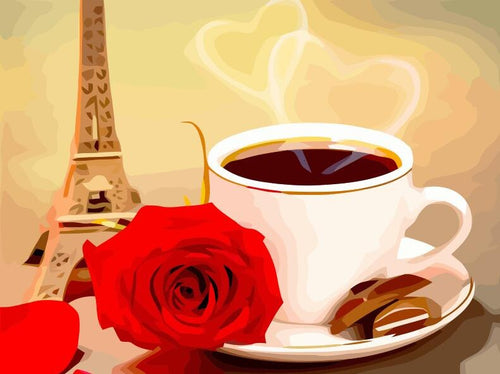 Hot Coffee With Rose And Eiffel Tower Kit