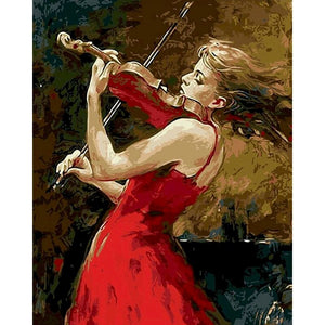 Lady In Red With Violin