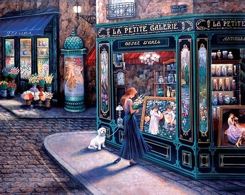 Lady With Dog At Shop Paint With Diamonds