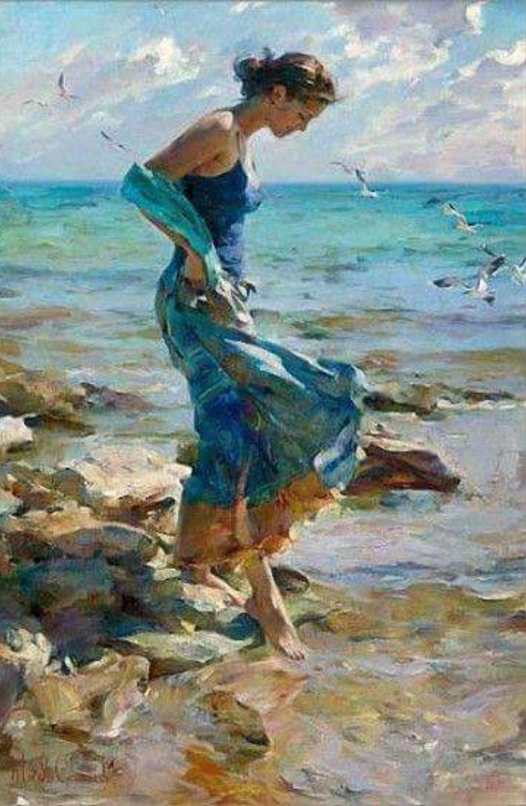 Lady on the seashore Painting by number