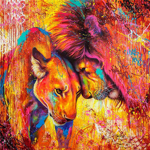Lion Couple Colourful Painting