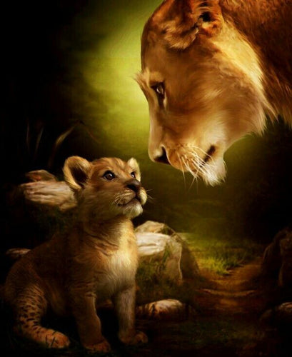 Lioness With Cub Painting by number