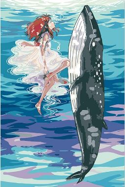 Little Girl Anime With Whale - Paint by Numbers Kit