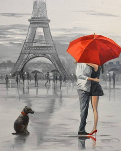 Couple At Eiffel Tower hugging painting